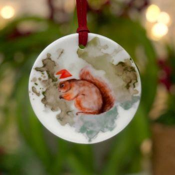 Festive Squirrel Ceramic Hanging Disc