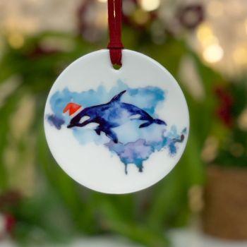 Festive Whale Ceramic Hanging Disc