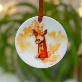 Giraffe Cow Ceramic Hanging Disc