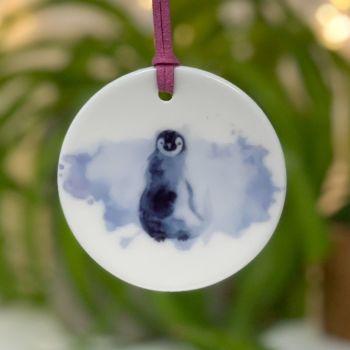 Penguin Ceramic Hanging Disc