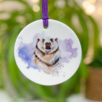 Polar Bear Ceramic Hanging Disc