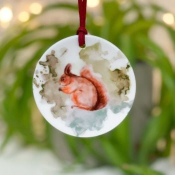 Squirrel Ceramic Hanging Disc