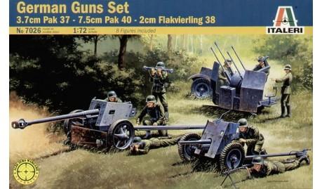 ITALERI 1/72 VEH PAK 37 PAK 40 FLAK 38 German Guns