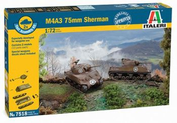 ITA-07518 - Italeri 1/72 M4A3 75 mm Sherman (2 Fast Assembly Plastic Models)