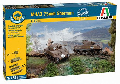 Italeri - 1/72 Fast Assembly M4A3 75MM SHERMAN (2 X kits)