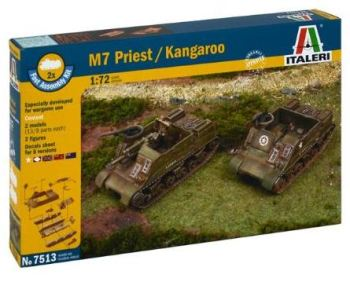 ITA-07513 - Italeri 1/72 M7 Priest / Kangaroo (2 Fast Assembly Plastic Models)
