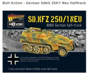 Bolt Action - German Sdkfz 250/1 Neu Halftrack