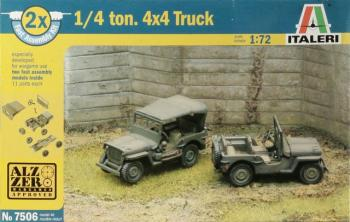 ITA-07506 - Italeri 1/72 Willys Jeep 1/4 Ton 4X4 (2 Fast Assembly Plastic Models)