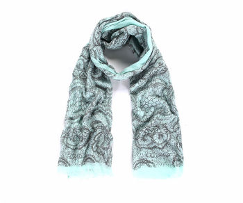 Green lace print scarf
