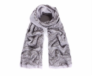 Grey lace print scarf