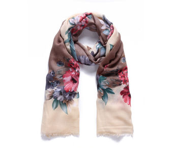 Brown Floral satin long scarf