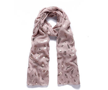 Pink feather metallic foil print long scarf