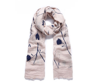 Blue flocked texture floral long scarf