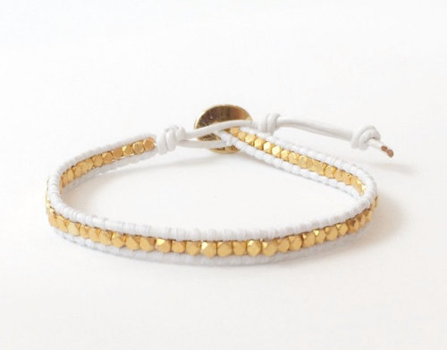 White Leather Gold Wrap Bracelet