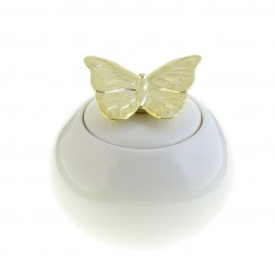 Butterfly Kiss Ceramic Storage Jar White/Gold