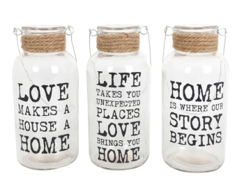 Glass Slogan Rope Jar