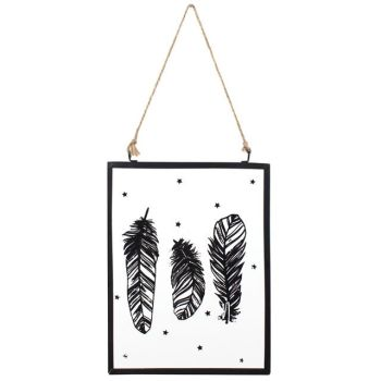 Hanging Black Feather Glass Sign