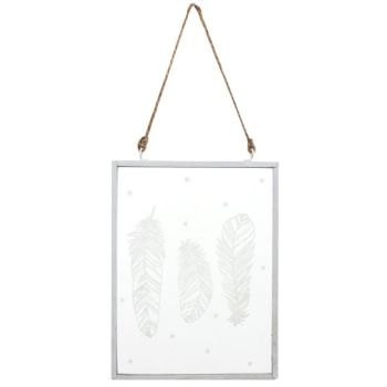 Hanging White Feather Glass Sign
