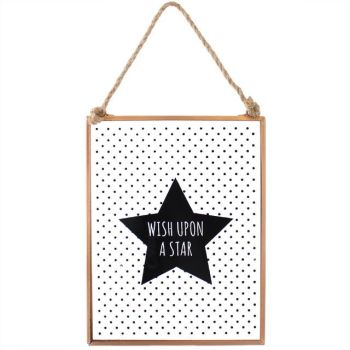 Wish upon a star Polka Dot glass sign