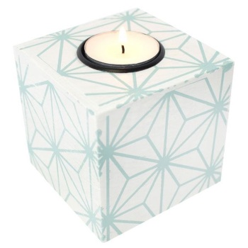 Green Geometric Wooden Tealight Holder