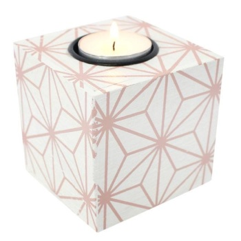 Pink Geometric Wooden Tealight Holder