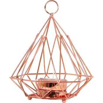 Copper Pyramid Geometric Candle Holder