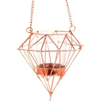 Hanging Copper Pyramid Geometric Candle Holder