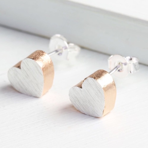 Dipped Rose Gold Brushed Silver Heart studs