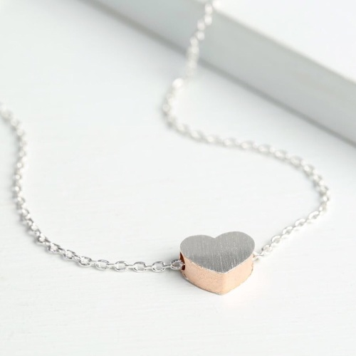 Dipped Rose Gold Brushed Silver Heart Necklace