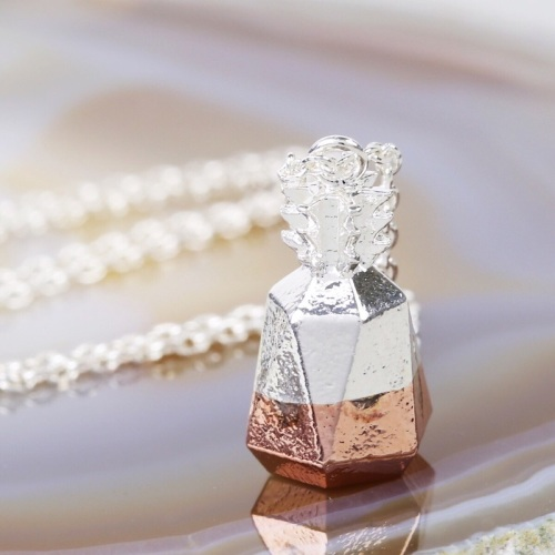 Silver Dipped in Rose Gold Geometric Pineapple Necklace