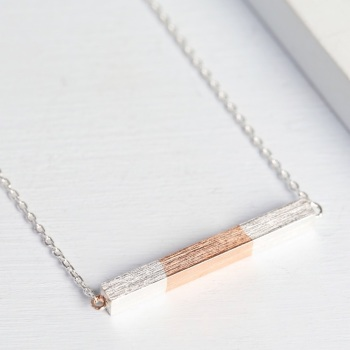 Silver Dipped Rose Gold Horizontal Bar Necklace