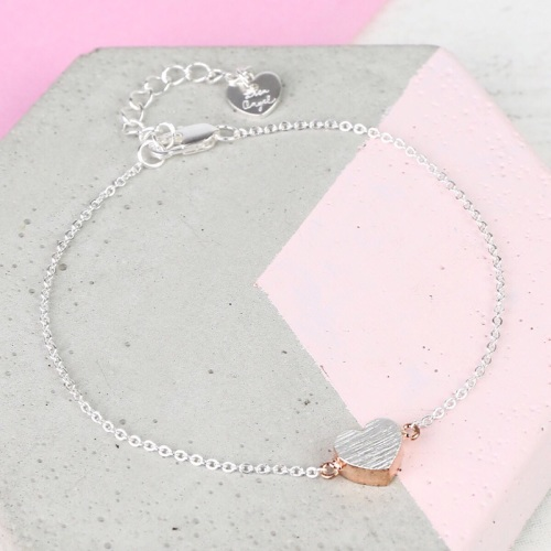 Dipped Rose Gold Brushed Silver Heart Bracelet