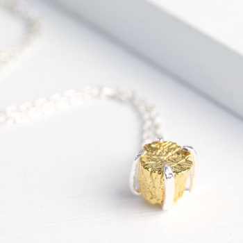 Silver Necklace With Gold Nugget Pendant