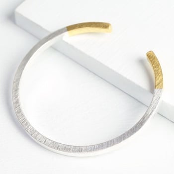 Gold Dipped Silver Bar Bangle