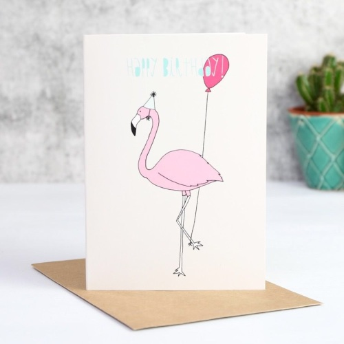 'Happy Birthday' Flamingo Card