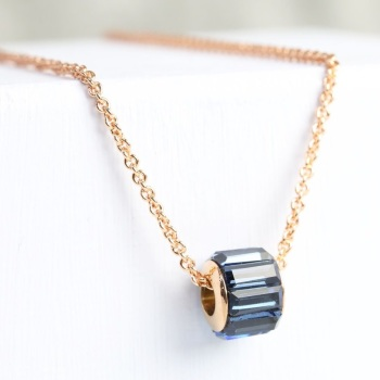 Navy and Rose Gold Crystal Bead Necklace