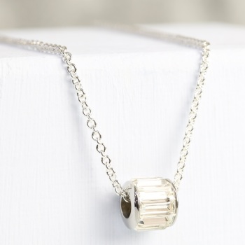 Clear and Silver Crystal Bead Necklace