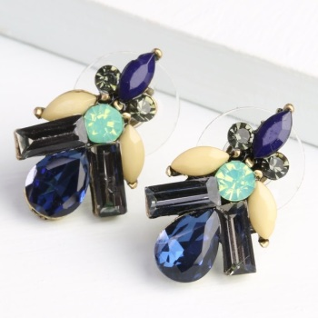 Statement Black & Navy Gem Stud Earrings