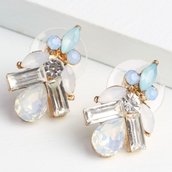 Statement Opal & Blue Gem Stud Earrings