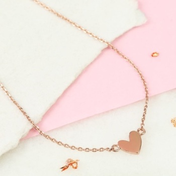 Shiny Heart Necklace In Rose Gold