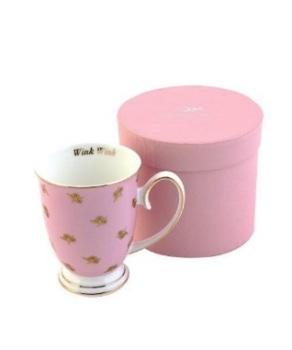 Miss Petticoat Wink Wink Floral Mug Tea Rose Pink and Gold