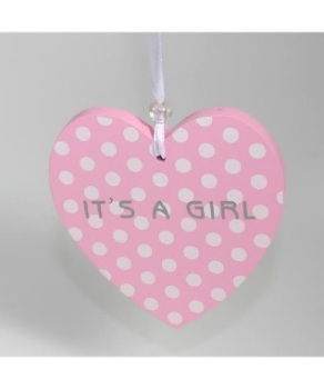 Its a girl pink and polka dot hanging heart