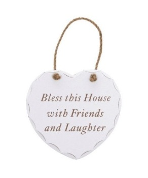 Bless this house with friends and laughter hanging heart