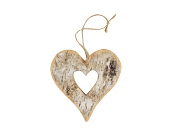 Birch Wood Hanging Heart Small