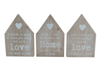 Wooden House Slogan Block