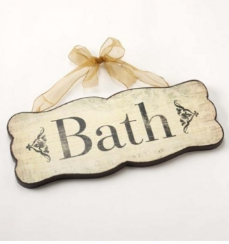 Hanging wooden bath sign with organza ribbon
