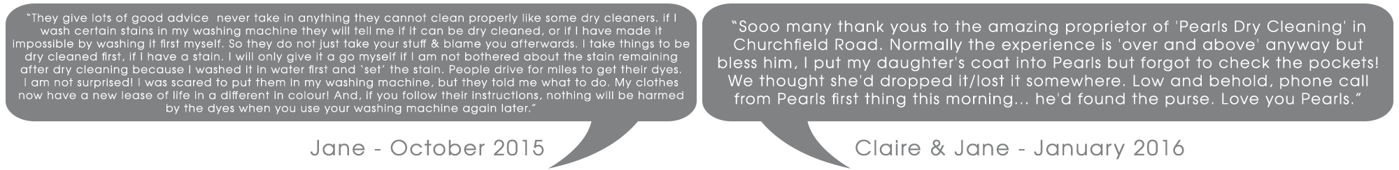 Customer Testimonials Pearls Drycleaners