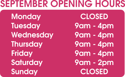 September Opening Hours, Pearls Drycleaners, Acton
