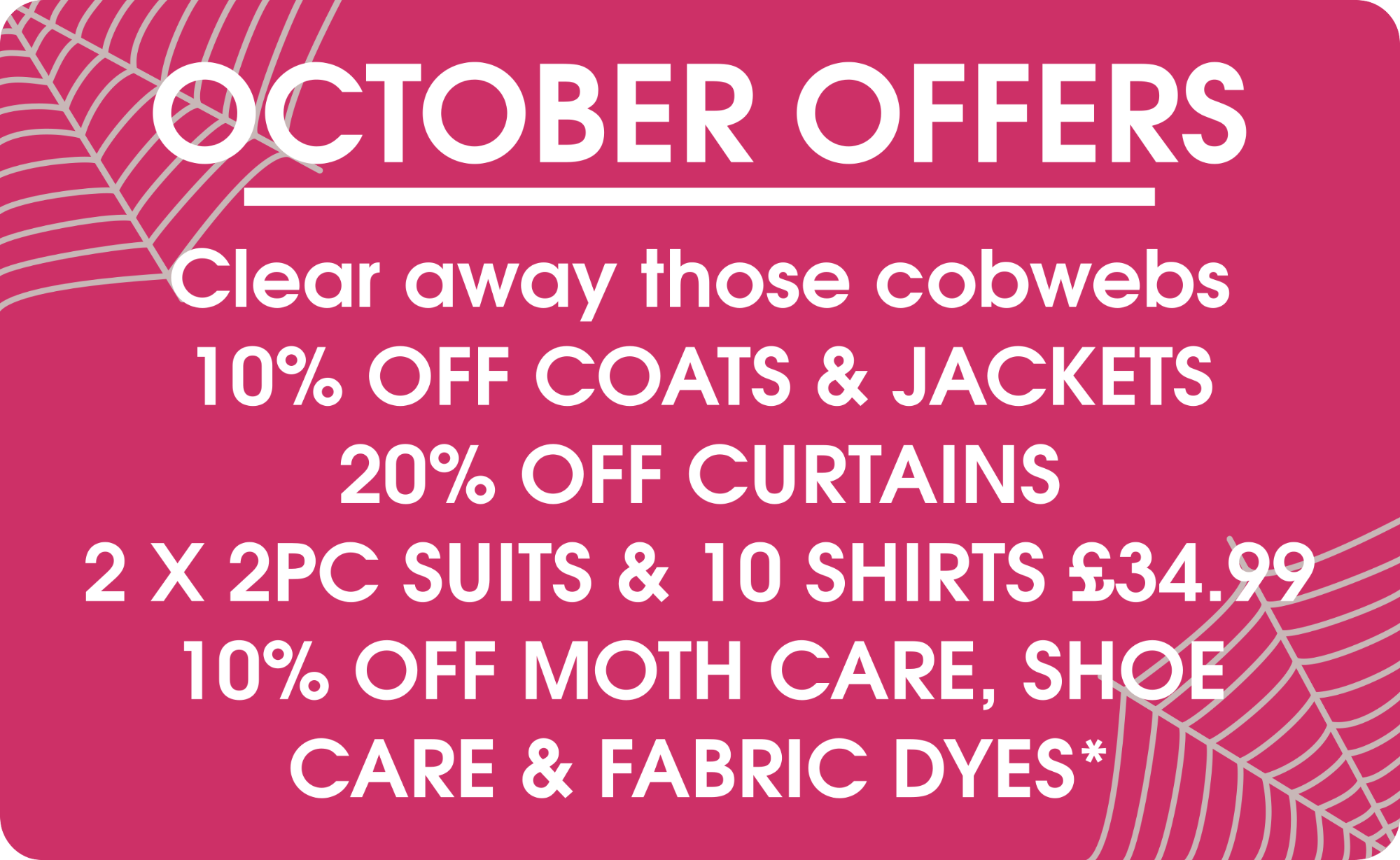 October Offers Offers- Pearls Drycleaners, Acton