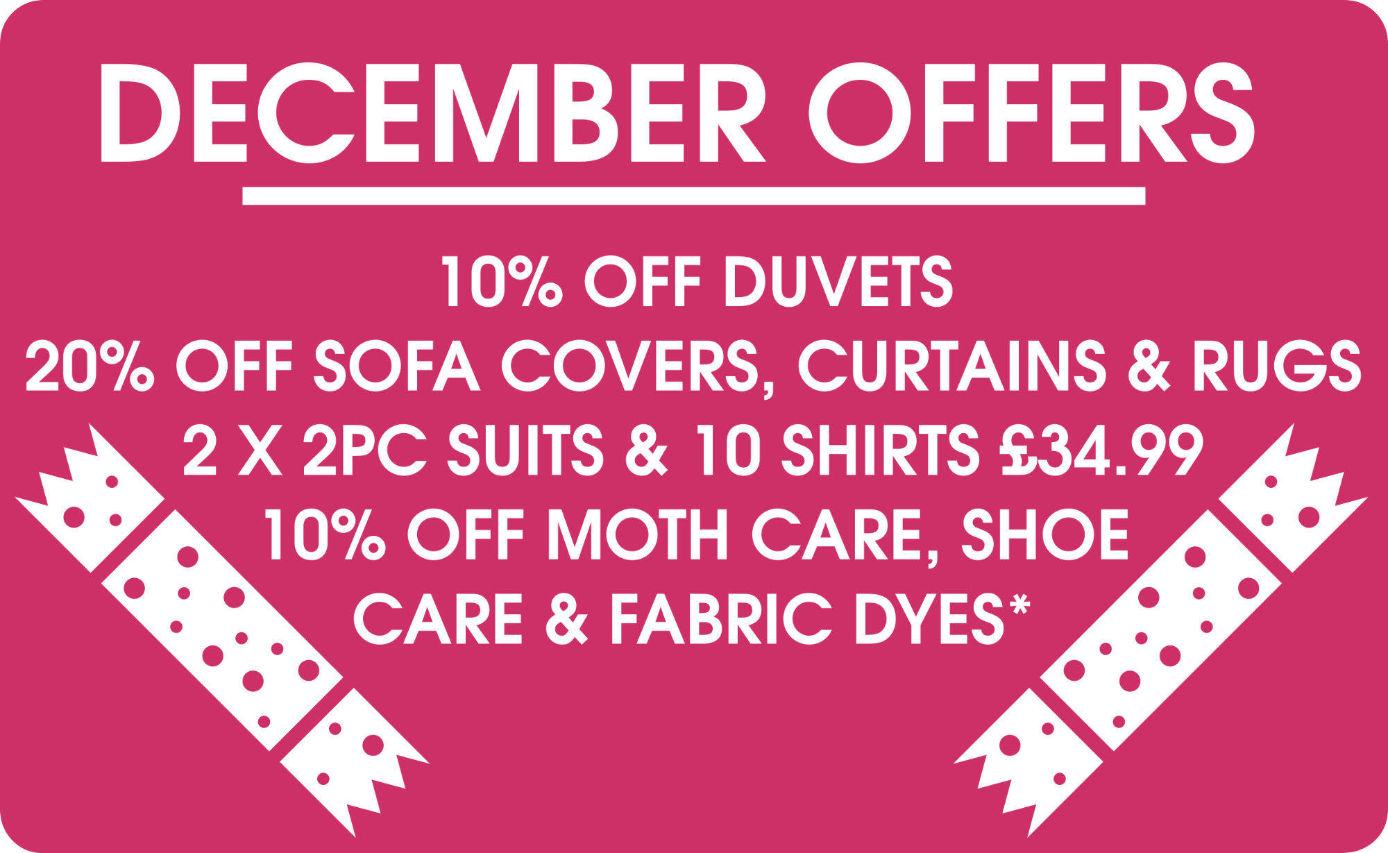 December Offers Offers- Pearls Drycleaners, Acton